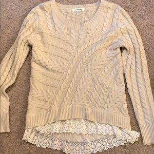 Light Brown sweater with laced ruffle size small